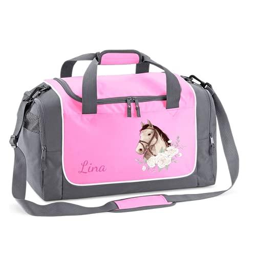 Mein Zwergenland Sporttasche Kinder personalisierbar 38L, Kindersporttasche mit Name und Pferdekopf mit Rosen Bedruckt in Rosa