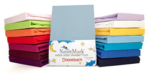 2er Sparpack Kinder Spannbettlaken Jersey 100% Baumwolle für Kinderbettmatratzen ÖKO Tex Geprüft- Gr. 70 x 140 cm, Hellblau / Himmelblau