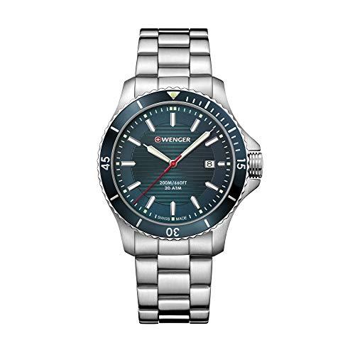 Wenger Hombre Seaforce - Reloj de Acero Inoxidable de Cuarzo analógico de fabricación Suiza 01.0641.129