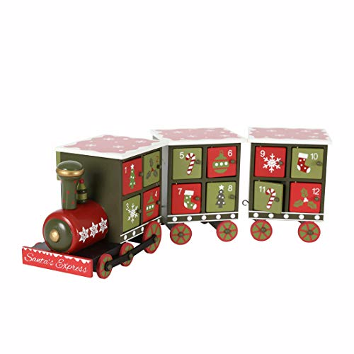 PIONEER-EFFORT Christmas Wooden Advent Calendar Train with Hand Painted Patterns and 24 Drawers to Fill Candy or Small Gifts Christmas Tabletop Decoration 16 Inch (Traditional Color-Medium Size)