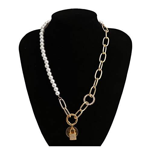 KangKangPL Temperamento Punk imitación Perla Collar Collar Collar exagerado Bloqueo en Forma de Diamante de imitación círculo Collar Collar Hembra joyería para Chicas Adolescentes/Mujeres