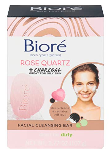 Biore Rose Quartz + Charcoal Facial Cleanse Bar 3.77 Ounce Box (Pack of 2)