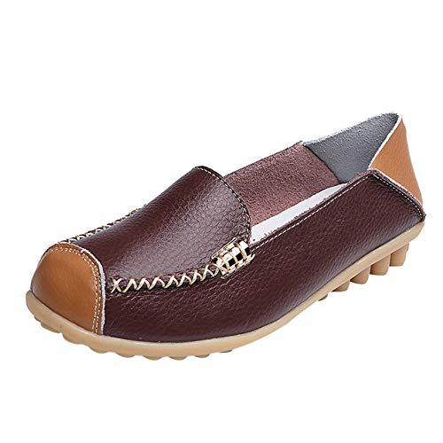 Mujeres de Ocio Fondo Suave Ponerse Punta Redonda Zapatos Zapatos Planos Individuales Zapatos de Guisantes (Café, Numeric_40)