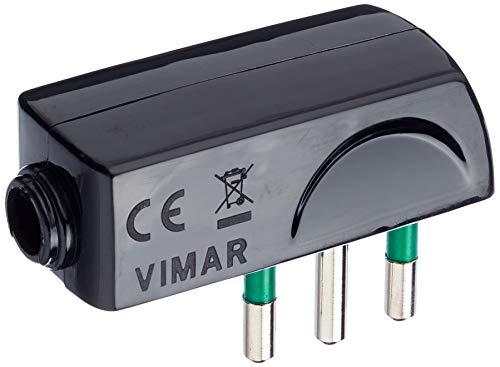 Vimar RI.00206N Spina Piatta a Squadra SICURY 2P+T 10 A 250 V, Standard Italiano Tipo SPA11, Uscita Cavo 90°, Nero