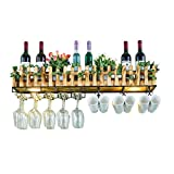 ZYLZL Wine Rack,Wall-Mounted,Bar, Restaurant, Wine Bottle Rack,Wall Hanging Mounted, Soild Wood Wine Champagne Glass Goblets Stemware Rack Holder,60×25Cm