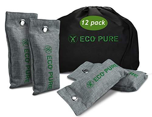 Air Purifier Bags Bamboo Charcoal (65g X 12 Pack) Bamboo Charcoal Air Purifying Bag - Free Drawstring Black Bag - Shoe Deodorizer, Odor Neutralizer, Odor Eliminator, Gym, Closet, Car Air Freshener