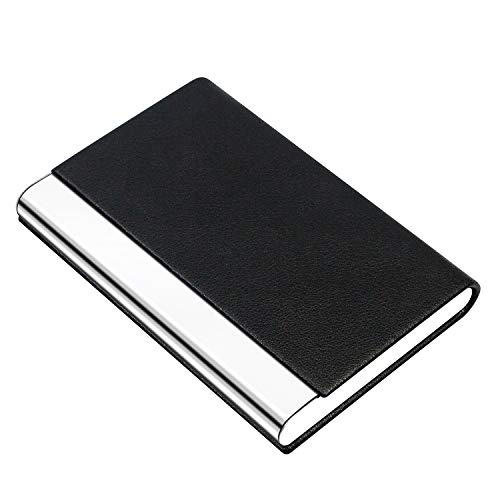 PADIKE Business Name Card Holder Luxury PU Leather & Stainless Steel Multi Card Case,Business Name Card Holder Wallet Credit Card ID Case/Holder for Men & Women (Black)