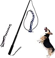 ANG Flirt Pole Rope Tug Dog Toy, Braided Cotton Blend Rope Outdoor Interective Toy for Pulling, Chas...