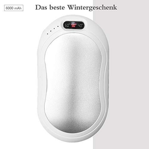 Atsuo Wiederaufladbarer Handwärmer Powerbank 6000mAh 3-stufige Temperatureinstellung und LCD-Anzeige Beiderseitig Schnell Aufheizen (Silber.)