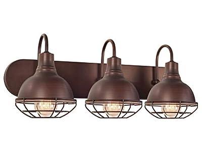 "Kira Home Liberty 24"" 3-Light Modern Industrial Vanity/Bathroom Light, Brushed Bronze Finish"