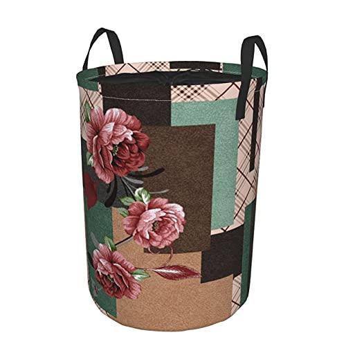 Cesto portabiancheria rotondo,sfondo senza cuciture di fiori vintage in stile provenzale,cesto portabiancheria pieghevole impermeabile con coulisse 21.6'X16.5'
