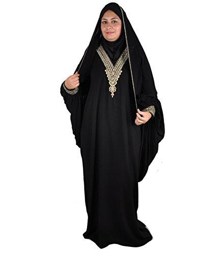 Egypt Bazar Egypt Bazar Klassische Abaya mit Kopftuch Festkleid, schwarz (36-38 (S))