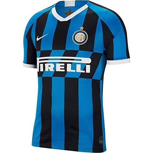 Inter, Prima Maglia Stadium Home 2019/2020, Maglietta Sportiva Maniche Corte Uomo, Blue Spark/(White) (Full Sponsor), M