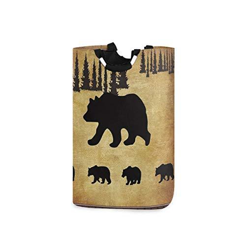 DYCBNESS Cesto para la Colada,Animal Black Bear Cabina rústica Diseño de Vida Silvestre Madre y Cuatro Lindos Osos bebé,Cesta de lavandería Plegable Grande,Papelera de Lavado Plegable