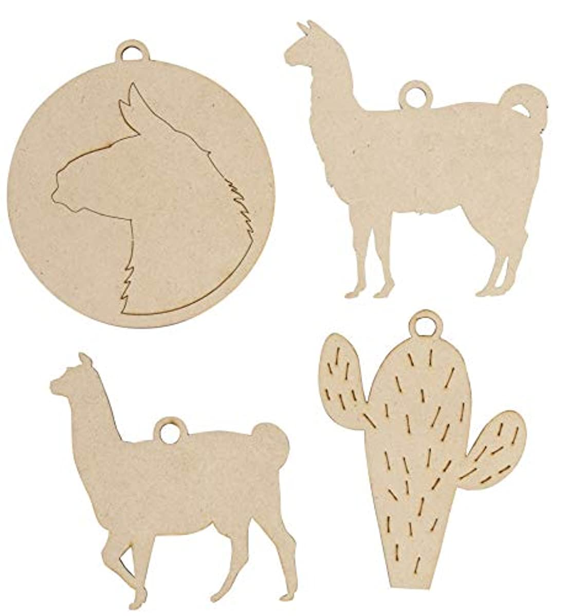 Unfinished Wooden Christmas Ornaments - 24-Pack Paintable Blank Xmas Tree Hanging Wood Slices for Kids DIY Art Crafts, 4 Assorted Llama and Cactus Designs, 3.7 x 4.1 to 4.2 x 4.3 Inches