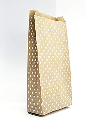 Clairefontaine 394107C – Bolsa de 50 sobres de papel de regalo Kraft, 15 x 31 + 6 cm, estrellas blancas