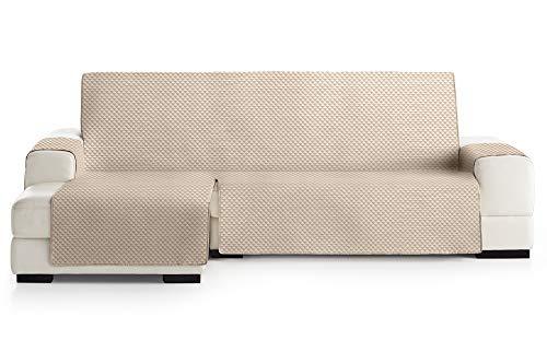 JM Textil Copridivano Salvadivano Chaise Longue Elena, Protezione Imbottita per divani Bracciolo Sinistro. Dimensione -240cm. Colore Avorio 01 (Visto di Fronte)