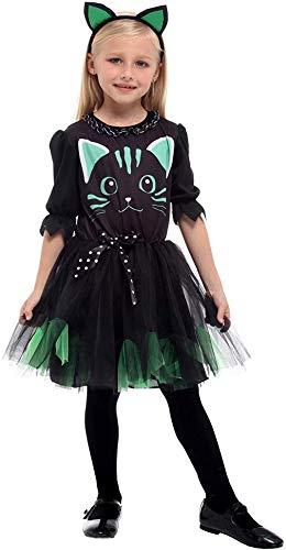 EOZY Mädchenkostüm Kätzchen Katzenkostüm Halloween Kostüm Haarreif Fasching Party Cosplay