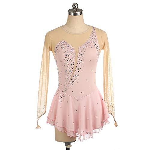CAICAIL Langärmlige Eiskunstlauf Kleidung Kinder Erwachsener Mädchen Performance-Kleidung, Frauen-Chiffon- Ineinander Greifen Spliced Skating-Kleid,12,S