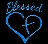 Blessed Cross and Heart Christian Decal Vinyl Sticker|Cars Trucks Vans Walls Laptop |5.5 x 4.5 in| (Light Blue)