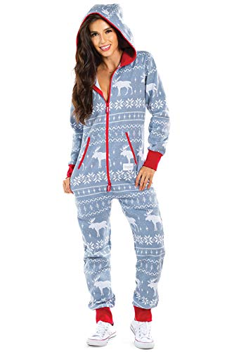 Women's Cozy Christmas Onesie Pajamas - Grey Moose Cozy Adult Holiday Jumpsuit: Small