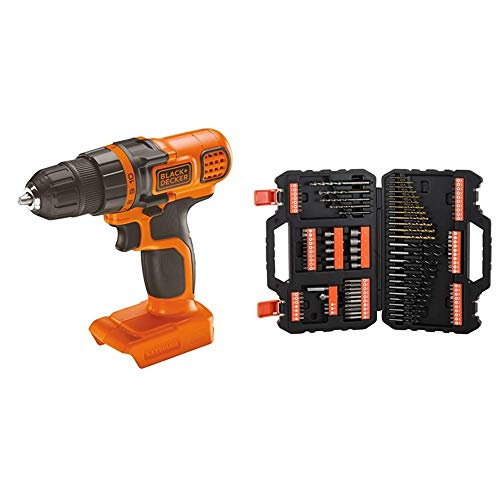 BLACK+DECKER - Taladro atornillador 18V + BLACK+DECKER A7200-XJ - Juego de 109 piezas para atornillar y taladrar