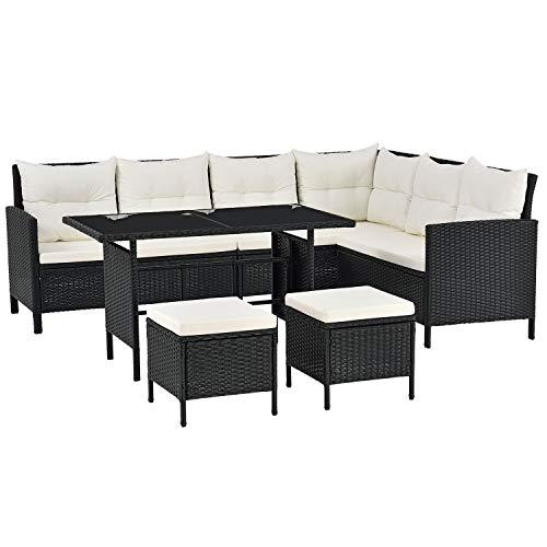 ArtLife Polyrattan Lounge Manacor | Ecklounge mit Tisch & 2 Hockern | Bezüge cremeweiß | Gartenmöbel für Garten, Terrasse & Balkon