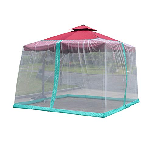 Jurong Outdoor Roman Umbrella Mosquito Netting - Polyester Mesh Screen with Zipper Opening and Patio Water Tube at Base to Hold in Place - Helps Protect from Mosquitoes Polyester Fiber,White