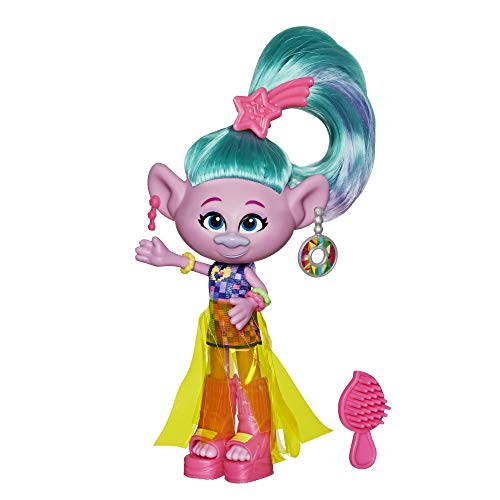 Trolls DreamWorks Glam Satin Fashion Doll with Dress, Shoes, and More, Inspired by The Movie World Tour, Toy for Girl 4 Years and Up