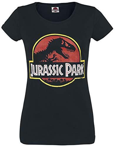 Jurassic Park Logo Donna T-Shirt Nero XL 100% Cotone Regular