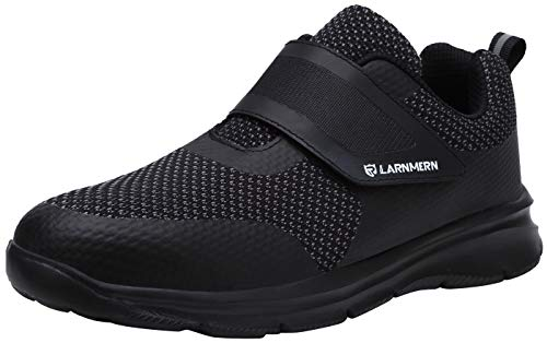 LARNMERN Men's Steel Toe Work Shoes,Knit Breathable Lightweight Safety Shoes with Hook & Loop (Black/Black, 12 Women/10 Men)…