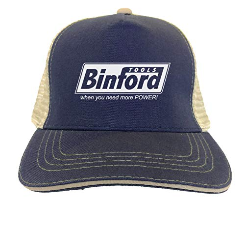 Binford Tools - TV Parody Funny Twill Soft Mesh Trucker Hat (Navy Blue/Khaki)
