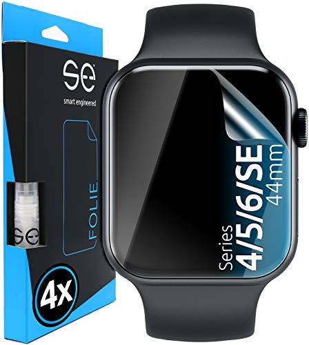 [4 Stück] 3D Schutzfolien kompatibel mit Apple Watch 44mm (Series 4 / 5 / 6 / SE), transparente HD Displayschutz-Folie, Schutz vor Schmutz und Kratzern, kein Schutzglas - smart engineered