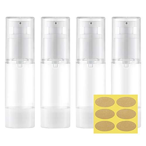 Toureal 30ml Pompa Airless Flaconi Vuoti per Liquidi (4Pezzi) Contenitori per Liquidi Viaggio, Bottiglie Plastica Dispenser per Gel (Trasparente)