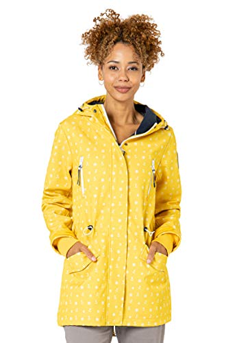 Sublevel Damen Softshell-Jacke Kurzmantel mit Kapuze & Print Yellow L