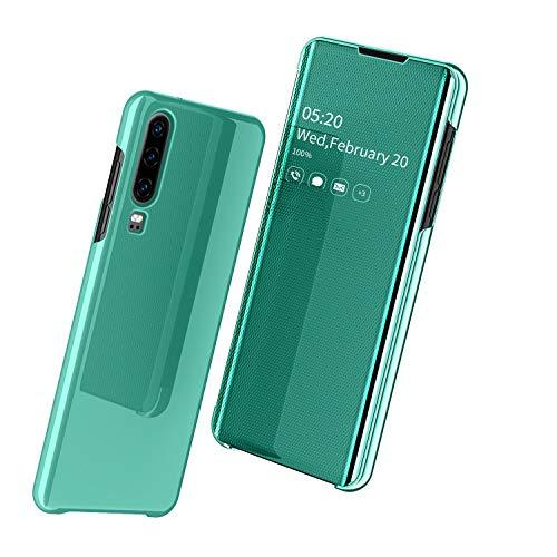 Nadoli Mirror Hülle für Huawei P30,Luxus Ultradünn Clear View Vorderseite und Hart Zurück Spiegel Schlank Flip Schutzhülle Etui für Huawei P30