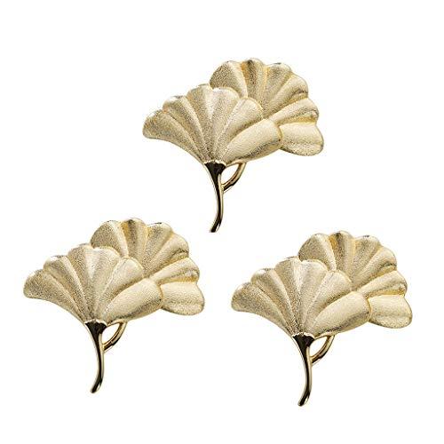 XYSQ Drawer Handles, Furniture Pulls, Zinc Alloy Ginkgo Leaf Shaped Cabinet Pulls, Gold Cabinet Door Handle with Real Gold Plating, Dresser Wardrobe Decoration, 3 Pack (Color : Gold, Size : L)