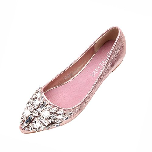 FNKDOR Damen Geschlossene Ballerinas Flache Pumps Strass Schuhe Klassische Damenschuhe(39,Rosa)
