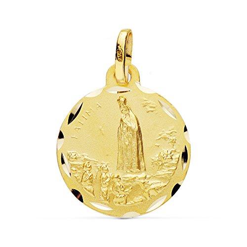 Alda Joyeros Medalla de Oro Virgen de Fátima 18 Ktes 20mm. Personalizable, Grabado Incluido.