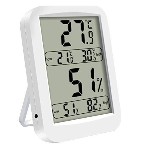 Wetterstation Funk LCD Bildschirm Multifunktional Control Thermometer Hygrometer Rechteckig digitales Hygrometer für den Innenbereich (Weiß)