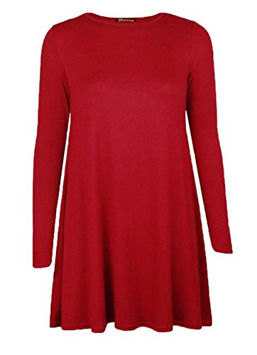 Nieuwe dames effen lange mouwen stretch één lijn skater Schotse ruit swing jurk top