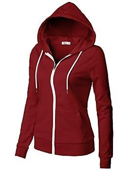 H2H Women s Casual Zip-up Hoodie Basic Long Sleeve Hoodie Burgundy US L/Asia L  CWOHOL030