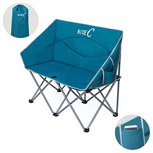 Nice C Double Camping Chair, Loveseat, Oversized Folding Camp seat with Strap Carry Bag(Blue)