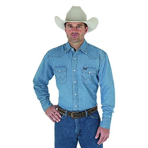 Wrangler Men's Big and Tall Western Work Shirt Washed Finish, Stonewashed, XX-Large