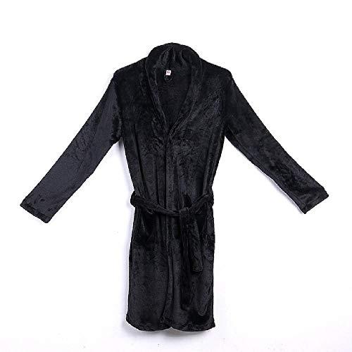 Albornoces para Hombre Invierno cálido Suave Franela Coral Albornoz Albornoz Kimono para Hombre Albornoz Hombre Ropa de Dormir Bata