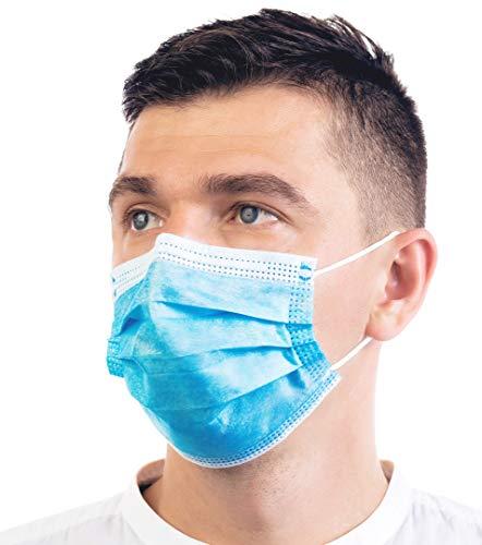 50 Stück Einweg-Masken, 3-lagig, schützt vor Staub, atmungsaktiv, medizinisch schön, Unisex, Einweg-Ohrschlaufen, Mundschutz, Gesichtsschutzmasken, Einheitsgröße, Blau