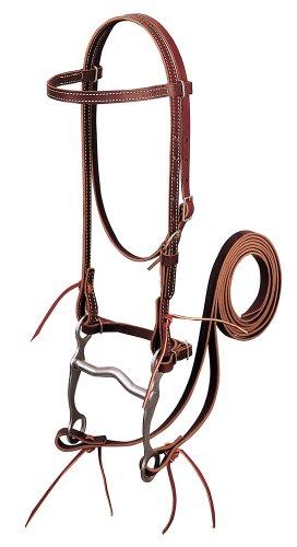 Weaver Leather Latigo Leather Browband Bridle with Single Cheek Buckle Burgundy, Horse