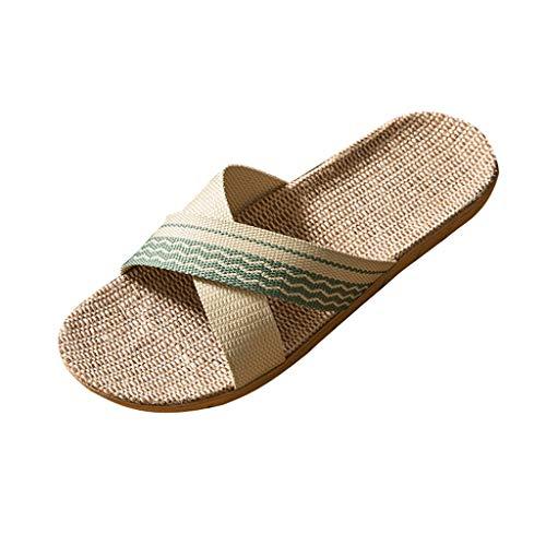 Clogs Hausschuhe Badeschuhe Zehentrenner Pantoletten Sandalen Trekking Sandalen Bade Sandalen Flops Offroad Sneaker Erholungsschuhe Pantoffeln (36,Damen-Grün)
