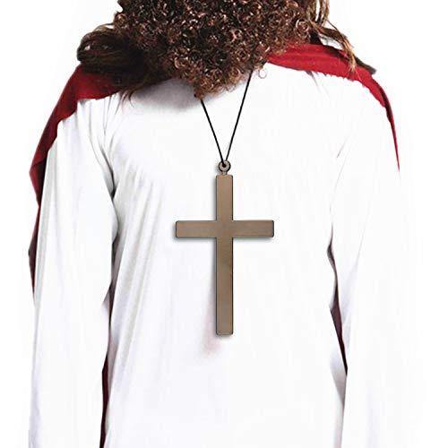 Collana Croce Decorativa di Halloween in Plastica per Oggetti di Scena Cosplay mascherati usati per sacerdote, Suora, Gesù per Bambini e Adulti