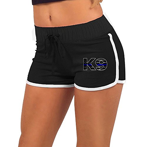 Womens Sexy Booty Shorts Police K9 Thin Blue Line Torso Silhouette Dance Yoga Festivals Hot Pains